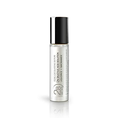 (NEU) 2% Salicylsäure Flüssiges Peeling Serum von 28 Day Skin | Mit Süßholzwurzelextrakt + Niacinamid für zu Akne Neigender oder Fettiger Haut | Anti-Pickel und Entzündungshemmend Behandlung