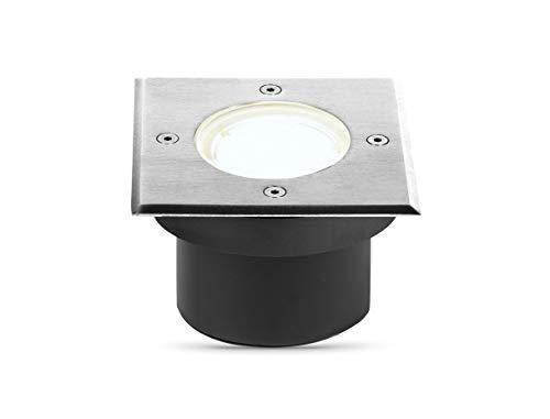 lambado® LED Bodenstrahler flach für Aussen IP67 - Wasserdicht & Befahrbar inkl. 5W Strahler dimmbar neutralweiss - Bodeneinbaustrahler/Bodenleuchte eckig aus Edelstahl für Terrasse & Garten