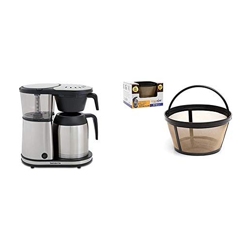 Bonavita Connoisseur 8-Cup One-Touch Coffee Maker Featuring Hanging Filter Basket and Thermal Carafe, BV1901TS & GOLDTONE Reusable 8-12 Cup Basket Coffee Filter fits Mr. Coffee Makers and Brewers