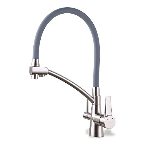 GAPPO Wasserhahn Küche Armatur 360° drehbar 3 in 1 Wasserhahn reines Wasser Filter gebürsteter Nickel
