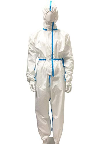 Duobang Disposable Protective Coveralls with Elastic Wrists, Ankles and Hood, Non-Porous Anti-Dust Ventilation clothing (Large)