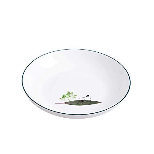 YNHNI Juego de platos de cena con diseño de gato de dibujos animados, platos de cerámica de 8 pulgadas, platos planos de porcelana, bandeja de pastelería, plato de fiesta, platos de frutas, repetibles