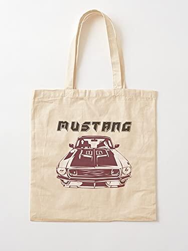 Generic Line Illustrator Vektor Car GT Tranding Art Black Mustang   Einkaufstaschen aus Segeltuch mit Griffen, Einkaufstaschen aus nachhaltiger Baumwolle