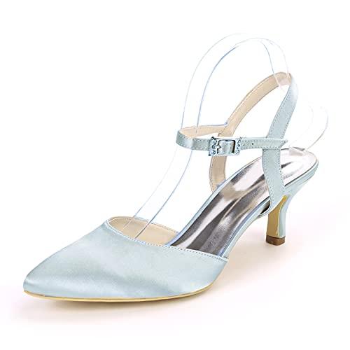 Mujer Zapatos De Boda Tacón Gatito Sandalias Puntiagudas Minimalismo Satén Un Color...