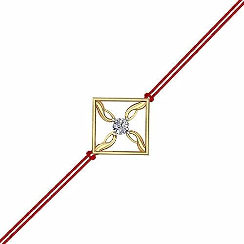 DISHIS 14K Yellow Gold Square Shape Stylish Natural Diamond and Fine Gold Designer Rakhi for Brother, Rakhi Bracelet for Raksha...