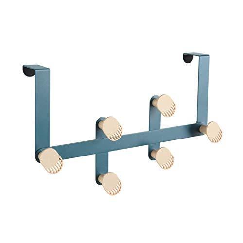 Perchero montado en la pared, percheros de entrada, ganchos independientes Soporte de perchero de acero inoxidable para ropa, batas, toallas (6 ganchos) azul