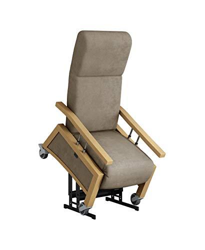 Devita - Pflegesessel Aufstehsessel Relaxsessel NARONA Lift 2 mit Aufstehhilfe, Rollen, Schiebegriff, versenkbare Armlehnen und verstellbarer Rückenlehne - bis 140 kg - mit Netzstecker und Akku- Buche hell, dunkel Beige mikrofaser