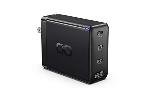 CIO LilNob USB PD 4ポート 100W 急速 充電器 GaN 窒化ガリウム Type-C/USB-C/折畳式プラグ 超コンパクト iPhone 12/iPad/Android/Switch/Macbook/Air/Pro対応 CIO-G100W3C1A