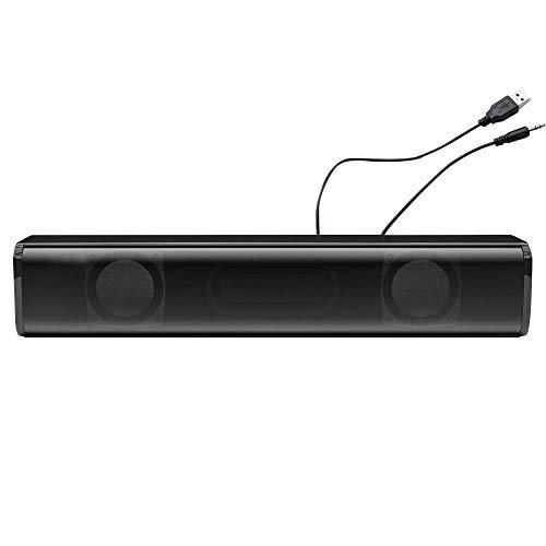 HilMe Barra de Sonido Altavoz, Ordenador Barra Sonido Altavoces Cableado Inalámbrico para PC, Escritorio Portátil, Tableta, Smartphone, TV Altavoz Estéreo - Negro con Cable, Gratis Talla