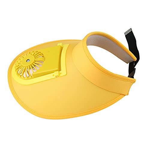 DanLink Algodón Ventilador Sombrero Alargado Al Aire Libre Sol Protección Uv Usb Carga Vacía Top Sombrilla Sombrero Amarillo Ajustable