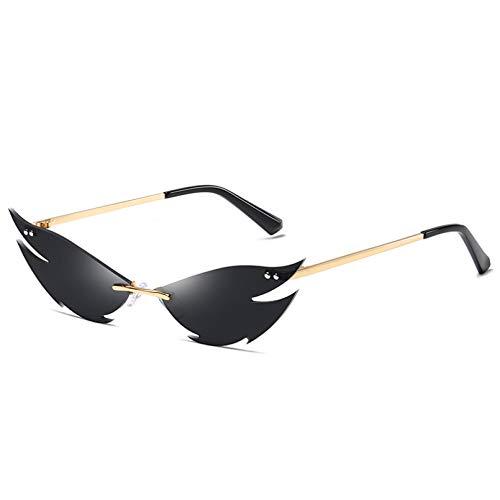 JJCDKL Gafas de Sol sin Montura Mujer Moda Ojo de Gato Steampunk Gafas de Sol Forma Femenina Sombras UV400