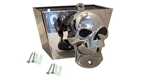 Skull Bottle Opener Wall Mount, Chrome with Free Mounting Screws