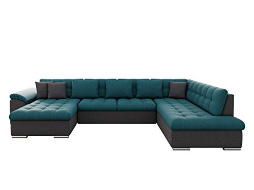Mirjan24 Ecksofa Niko Enzo! Eckcouch mit Schlaffunktion, Polsterecke, Bettsofa, Ottomane U-Form Couch, Wohnlandschaft! (Ecksofa Links, Boss 12 + Enzo 155 + Boss 12)