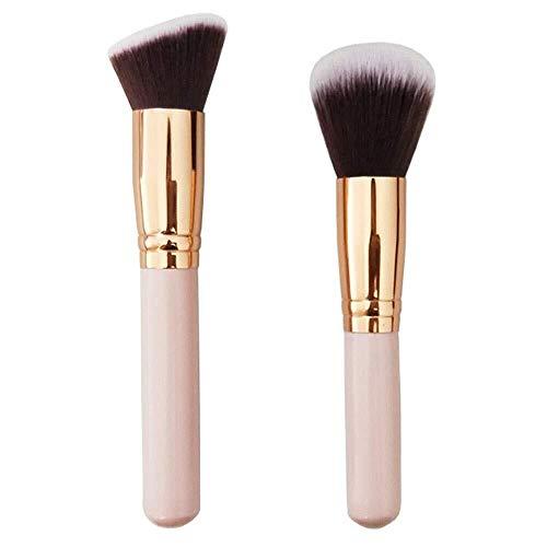 Brosse de maquillage Set Fondation de beauté maquillage pinceau poudre visage poudre blush pinceaux synthétiques ensemble for mélanger la crème liquide ou la poudre sans faille cosmétiques 2 pcs pince