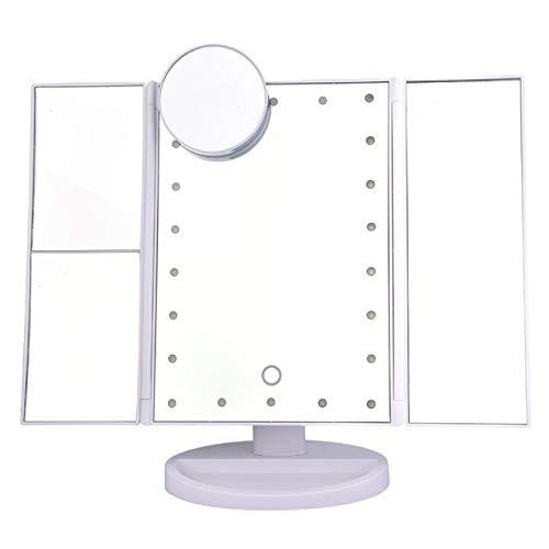 WWWL Specchio di Bellezza LED Trucco Specchio Vanità Lente Ingrandimento Floding Countertop Touch Screen Cosmetic 10x Lente di ingrandimento Piccolo Specchio Bellezza 3Flodingwhite