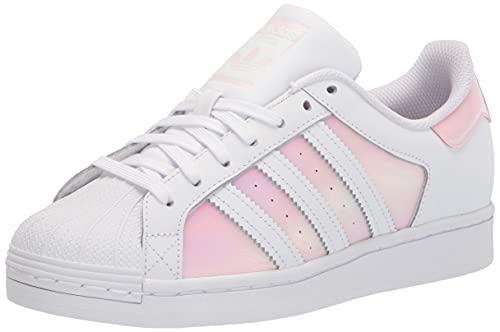 adidas Originals womens Superstar White/White/Clear Pink 9.5