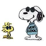 スヌーピー ワッペン 刺繍 キャラクター ピーナッツ PEANUTS SNOOPY Snoopy アイロンワッペン ステッカー シール 正規品 入園 入学 WAPPEN アップリケ ワッペンデコ ワッペンカスタム デコ アイロン・シール両用タイプ (4・Joe Cool(SAC14))