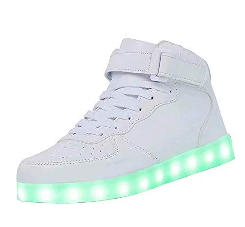 High Top LED Schuhe USB Turnschuhe für Männer Frauen mit Fernbedienung-41 (weiß)
