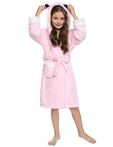 Aibrou Jungen/Mädchen Winter Fleece Bademantel Süßes Flanell Morgenmantel mit Ohrenkapuze Rosa M
