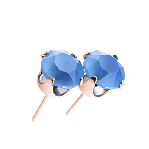 pewterhooter Women's 925 Sterling silver 14k Rose Gold plated earrings made with Summer Blue crystal from Swarovski. Gift box.