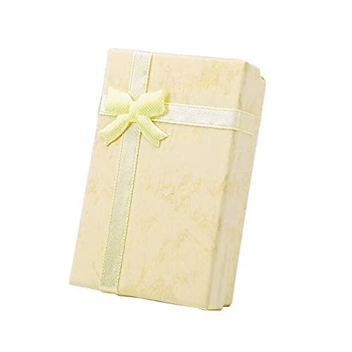 Caja de anillo para collar Caja de joyería de papel, organizador de collares, pendientes, caja de almacenamiento de accesorios espaciales, contenedor amarillo