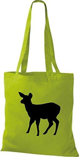 Krokodil Stoffbeutel Reh Bambi Kitz Baumwolltasche, Beutel, Shopper Umhängetasche, Farbe lime