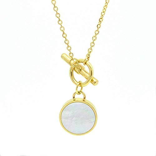 ZPPYMXGZ Co.,ltd Necklace Fashion Black White Shell Choker Necklace Necklace for Women Men Jewelry Gold Color Short Necklace Classic Round Tag Pendant Necklace