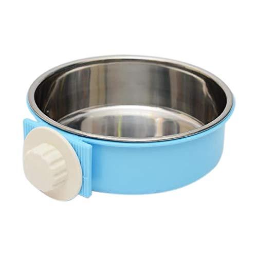 Haustier Edelstahl Cat Bowl Hundenäpfe Pet Food Bowl Hanging Kippschutzsystem Cage Feste Katzenfutter Basin Trinken Supplies, Größe: S (Pink) (Color : Blue)