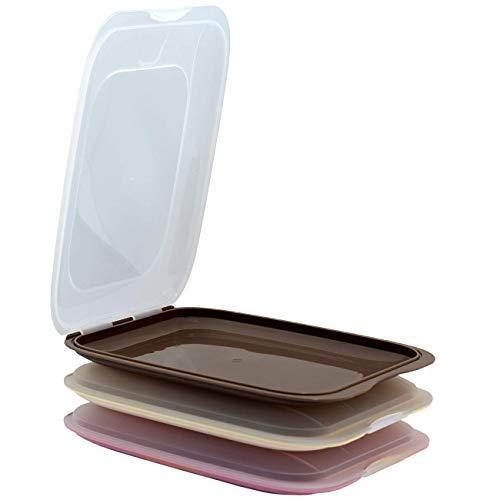 Engelland – Juego de 3 cajas apilables de alta calidad, fiambrera para cortar. Recipiente para salchichas. Orden perfecto en el frigorífico – beige marrón rosa, dimensiones 25 x 17 x 3,3 cm