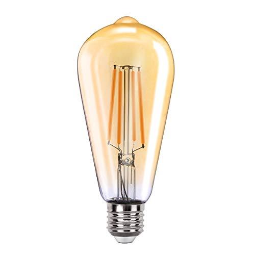 MoKo WIFI Inteligente Edison Bombilla ST64, E27 7.5W LED Luz, Funciona con Alexa Echo, SmartThings, Google Home, Voz/Remote Control, Temporizador, 2700K Luz Blanca Cálida, No Requiere Hub - 1 PZS