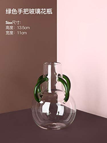 Ksnrang Florero de Cristal de Lujo con luz Creativa nórdica decoración de la Sala de Estar arreglo Floral Flor Seca Color florero Transparente hidropónico-Florero de Vidrio Verde