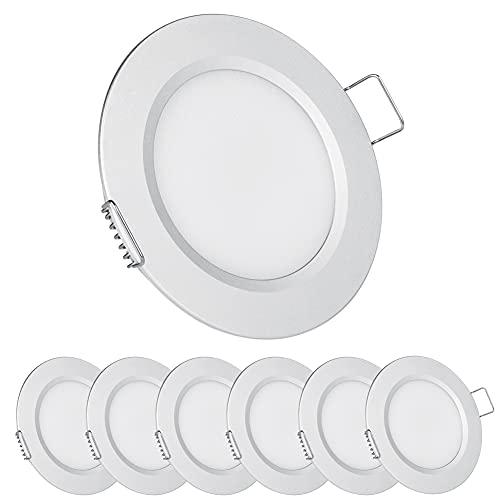 Acegoo 6 x Foco LED Empotrable Techo 12V Downlight Regulable 2.5W Plata Blanco cálido 3000K IP64 Panel Redondo Extraplano...