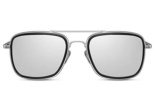 Cheapass Gafas de Sol Metálicas Plateadas Piloto con Solapas Laterales y Plateadas Espejadas Lentes Protección UV400 para Hombres
