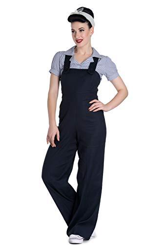Hell Bunny Penny Dungaree Frauen Jumpsuit schwarz L 52% Leinen, 45% Viskose, 3% Elasthan Rockabilly