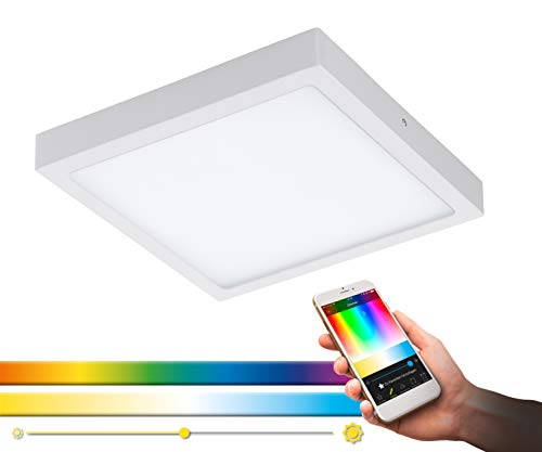EGLO connect LED Deckenleuchte Fueva-C, Smart Home Deckenlampe, Material: Metallguss, Kunststoff, Farbe: Weiß, L: 30x30 cm, dimmbar, Weißtöne und Farben einstellbar, Wandleuchte