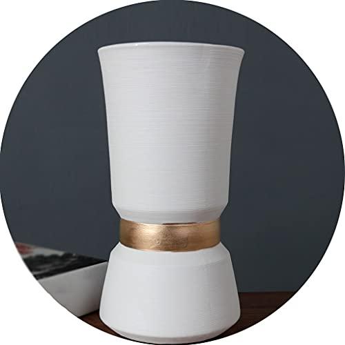Jarrones Florero Cerámica Cepillado Blanco Contenedor De Flores Secas para El Hogar Adornos Decorativos Circulares En El Escritorio De Oficina (Color : Blanco, Size : 13×25cm)