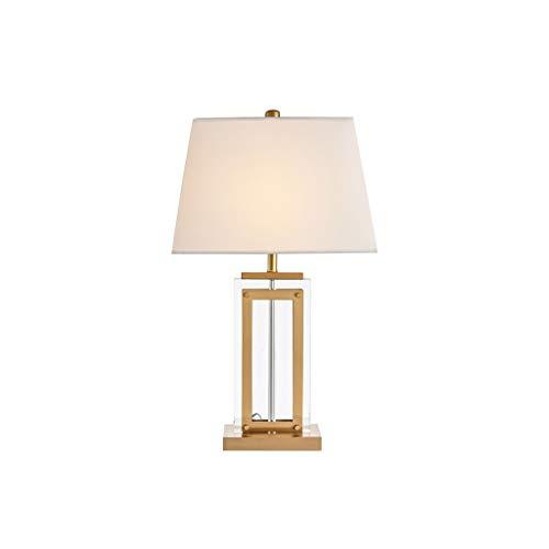 JJZXD Modern Table Lamp Art Deco Crystal Off White for Living Room Family Bedroom Bedside Lamp