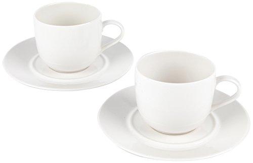 Alessi 1110305 la Bella Tavola Porcelaine Tasse et Soucoupe, Porcelaine, Blanc, Lot de 4
