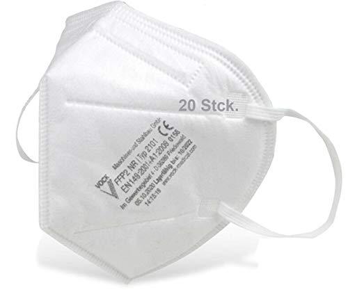 faciemF®, 20 Stck. FFP2 Atemschutzmaske | Masken für Mund - und Nasenschutz | Universalmaske als Partikelschutz | DEKRA (0158) geprüft | Made in Germany | sofort ab Lager lieferbar (20)