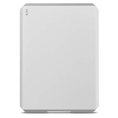LaCie Mobile Drive, 2 TB, Hard Disk Esterno Portatile, USB-C, USB 3.0, Moon Silver, 2 Anni di Servizi Rescue (STHG2000400)