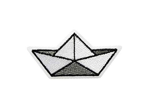 Mono-Quick Bügelbild Aufnäher Patch Applikation zum Aufbügeln Origami Boot Faltboot 5,0 cm x 2,5 cm