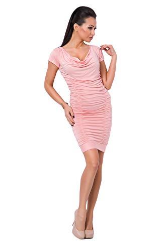 FUTURO FASHION® 8201 Damen Mini-Kleid mit Rüschen, Wasserfallausschnitt, kurze Ärmel, knitterfrei, figurbetont, Größen 34-42 Gr. 40, pfirsich
