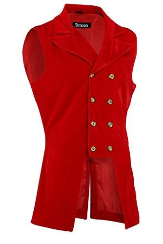 Darkrock Men's Double Breasted Governor Vest Waistcoat VTG Brocade Gothic Steampunk (X-Large, Red Velvet)