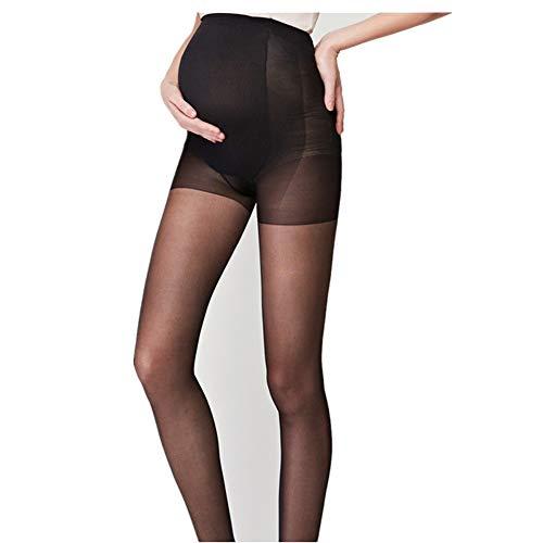 TIFIY Schwangerschaft Strumpfhose,Sommer Damen Schwangere Frauenstrümpfe Dünne Strumpfhosen Feste Übergroße Socken(Schwarz)