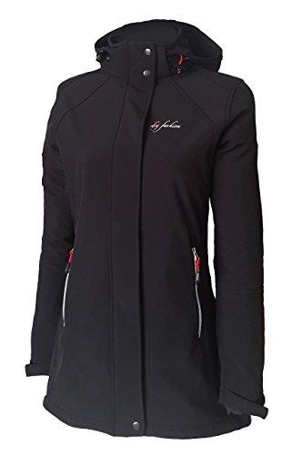 Dry Fashion Damen Softshell Mantel Sylt tailliert Regenmantel Regenjacke, Farbe:schwarz, Größe:36