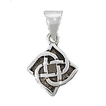 Sterling Silver Celtic Riddle Knot 4 Petal Flower Pendant