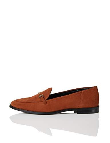 Marca Amazon - find. Snaffle Leather Loafer Mocasines, Naranja Spice, 37 EU