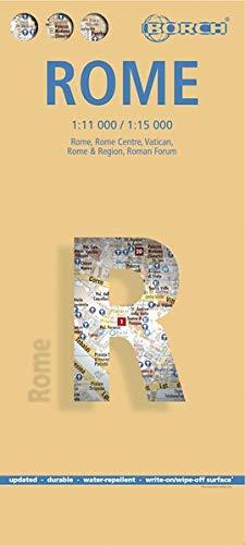 Roma, plano callejero plastificado. Escala 1:11.000/1:15.000. Borch.: Roma, Roma Centro, Vaticano, Roma & Regione, Foro Romano (Borch Map)