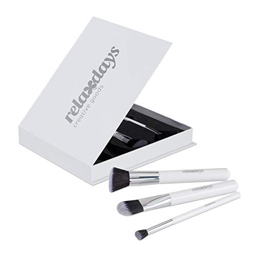 Relaxdays Pinselset Makeup, 5-teilig, in edler Aufbewahrungsbox, mit Rouge-, Highlighter-, Contour- & Puderpinsel, weiß