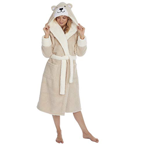 Damen Bademantel mit Panda-Bär-Kapuze, superweich, Fleece Gr. Large, Bär (Beige)